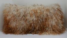 Real Mongolian Tibetan Lamb Fur Pillow Multi tone New made in usa Tibet cushion
