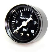 "Fuel Pressure Gauge 0-15 psi Carb 1/8"" NPT Black"