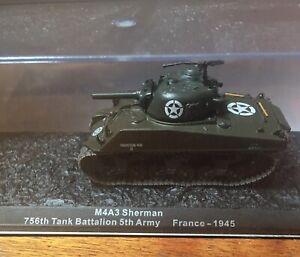Model Diecast Tank M4A3 Sherman 756th Tank Battalion 5th Army France 1945 1:72