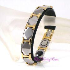 Magnetic Tungsten RSI Arthritis Health Unisex 2tone 24K Gold Pl Rhodium Bracelet