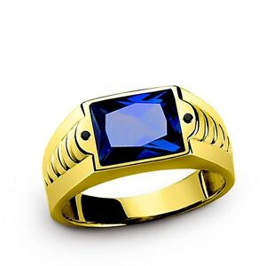Ruby (red) Citrine (yellow) Sapphire (blue) in 10k SOLID Yellow Gold Men's Ring