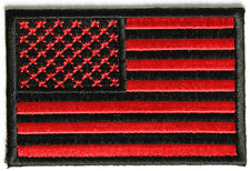"""US American Flag Patch Bloodred & Black tactical - 3""""x2"""" Inch Hook and Loop back"""