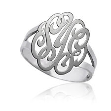 Personalized Monogram 3 Initials Ring -Custom Engrave Monogram Sterling Sliver