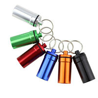 2pcs Waterproof Mini Pill Box Case Bottle Holder Container Keychain Keyring US