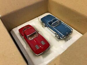 DANBURY MINT 2pc Set - CHEVROLET CORVETTES 1961 & 1963 1:43 Diecast Model Cars