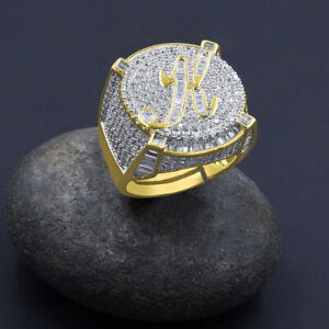Yellow Gold Finish Initial Letter Alphabet Baguette/Round Simulated Diamond Ring