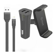 Kit 3 en 1 chargeur 2 USB 2A + support + lightning MUVIT