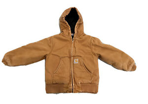 CARHARTT KIDS XS SIZE 6 NYLON LINED INSULATED COTTON DUCK JACKET W/HOOD