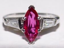 1.14CT Natural Ruby (No Heat) 0.53CT Diamond Engagement Ring PT s-6 PGS Cert.