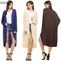 Women Batwing Sleeve Front Open Long Cardigan Solid Loose Casual GFEQ