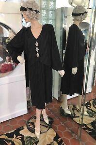 After Dark Dress 30s FLAPPER GATSBY ART DECO Black VTG 80s size 12W