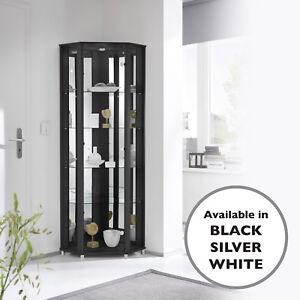 HOME Corner Glass 1 Door 4 Shelf Display Cabinet - Choice of White Black Silver