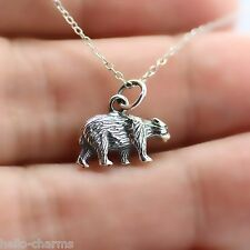 BEAR NECKLACE - 925 Sterling Silver - Grizzly Honey Brown Cub Claw Bear Charm