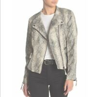 BLANK NYC Snakeskin Faux-Leather Vegan Moto Jacket M NWT