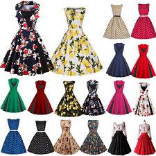 Damen Retro Vintage 50's Rockabilly Kleid Pinup Abendkleider Party Cocktailkleid