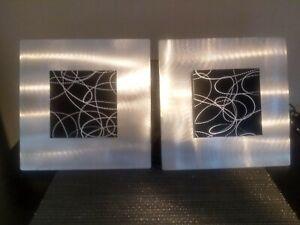 Jon Allen 2 Piece Signed 12x12 black & silver metal wall modern wall art