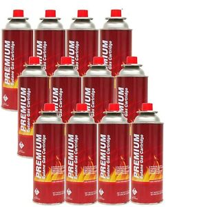 12 Butane Fuel Gas Canisters for Portable Camping Stoves