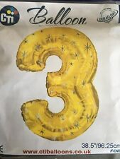 XL Giant Gold With Stars Number 3 Or 3rd Birthday Foil Balloon 96cm