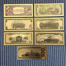 7Pcs/Set Gold Foil Bill Paper Money USA Dollars Collection Banknotes Collection
