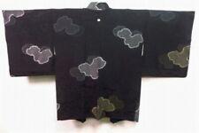 Vintage Japanese Ladies' Black Kimono Haori Eve Jacket 'Gold & Silver Cloud' M/L