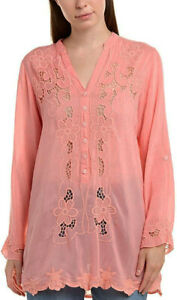 NWT sz XXL Johnny Was Banna Pink Coral Floral Embroidered Tunic
