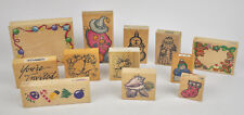 Lot of 12 Asst MOUNTED Rubber STAMPS Christmas HOLIDAY Snowman WITCH Shells USED