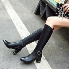 Ladies Warm Casual Riding Buckle Strap Block Zip Block Heels Knee High Boots