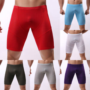 Mens Ice Silk Mesh Underwear Long Leg Boxer Briefs Trunk Sport Shorts Breathable