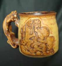 Stoneware Dragon Handle Mug pottery Mythical Viking Treasure Figural Medieval