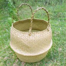 Handmade Wicker Sea grass Folding Laundry Flower Vase Home Garden Hanging Basket