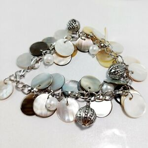 Silver Tone Mother Of Pearls Charms Bracelet