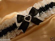 WHITE AND BLACK WEDDING BRIDAL BRIDE PLAIN GARTER SATIN LACE HEART DIAMANTE