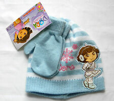 NWT Girl's Toddler Dora Blue Striped Winter Beanie Cap & Mitts Set