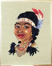 Needlepoint finished framed Native American Indian Female Squaw 16 x 20
