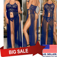 Blue Sheer Floral Lace Mesh Gown Long Dress Chemise Nightie Lingerie Teddy M-5XL