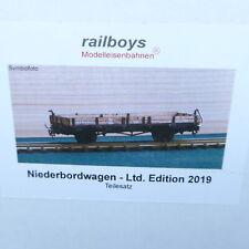 Railboys H0e Bausatz Niederbord-Güterwagen aus Holz + Messing Auflage 30 Stück !