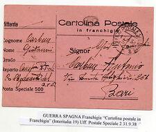 STORIA POSTALE 1938 GUERRA DI SPAGNA CARTOLINA POSTALE IN FRANCHIGIA D/5247