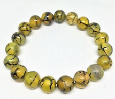 Natural 8mm Yellow Veins Dragon Agate Onyx Gemstone Bangle Bracelet 7.5 '' AAA