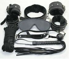 7pcs Bondage Kit Leather Whip Gag Blindfold Cuffs Collar Sexy Toy Rope Role Play