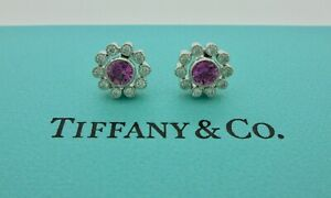 Tiffany & Co. Enchant Flower Pink Sapphire Diamond Platinum Stud Earrings - RARE