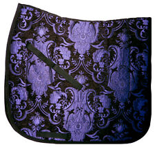 "NEW PRINT ""BLACK PURPLE"" TAPESTRY CHENILLE BAROQUE DRESSAGE SADDLE PAD"