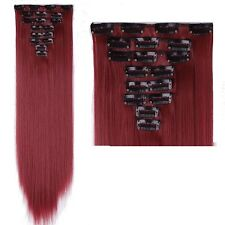 100% Real Natural as human Hair 8 Pcs 18 Clips Full Head Clip In Hair Extensions