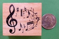 Musical Merriment Rubber Stamp, Wood Mounted