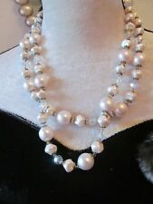 fab vintage rose pearl and crystal double strand necklace