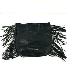 Victorias Secret Black Fringe Drawstring Backpack Bag Purse Leather NWOT