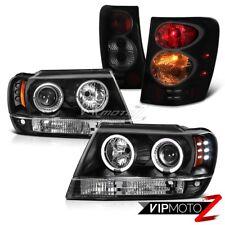 For 99-04 Jeep Grand Cherokee WJ Brake Signal Tail Lamp Black LED Halo Headlight