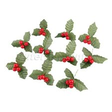 10X Artificial Holly Berries Leaf Decoration Party DIY Wedding Flowers Leaves