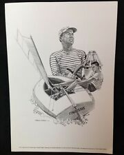 1960s Sports Print SAILING Picture Robert Riger Drawing CARLETON MITCHELL Yacht