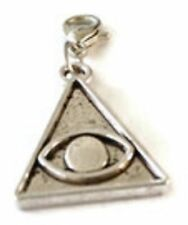 EGYPTIAN SILVER PYRAMID WITH THE EYE OF HORUS ON IT CLIP ON CHARM-TIBETAN SILVER