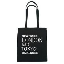 New York, Londres, Paris, Tokyo Ratingen - Sac en Toile de Jute - Couleur:Noir